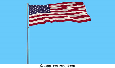 Isolate flag of United States of America on a flagpole, 4k prores footage, alpha transparency