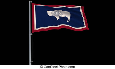 Isolate flag of United States Wyoming, 4k prores 4444 footage with alpha