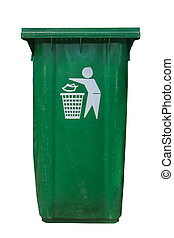 isolate green plastic bin on white background