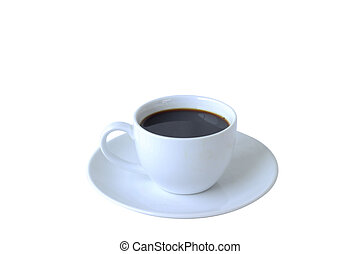 Isolate hot coffee in ceramic mug on white background