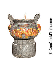 isolate Incense burner in a Chinese temple.