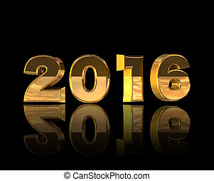 isolate of gold numerics for New Year on the black...