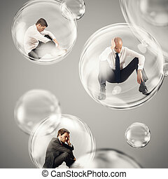 Isolate themselves inside a bubble - Sad businessmen flies...
