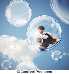 Isolate themselves inside a bubble - Sad businessman flies...