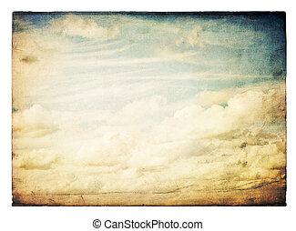 isolated., årgång, sky, avbild