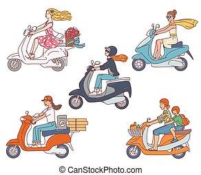 isolated., ιππασία , γράμμα , πατίνι , μικροβιοφορέας , μοτοσικλέτα , θέτω , γυναίκεs , εικόνα