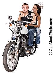 isolated, женщина, на, мотоцикл
