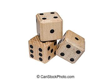 isolated, свая, of, три, деревянный, игральная кость