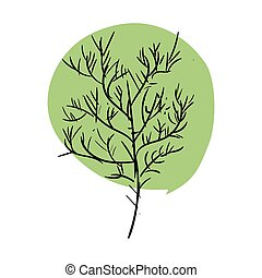 isolated., いたずら書き, 葉, 木, 茎, 緑の背景, 白