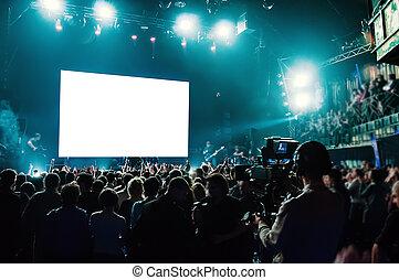 isolated., スクリーン, 白, コンサート, 岩