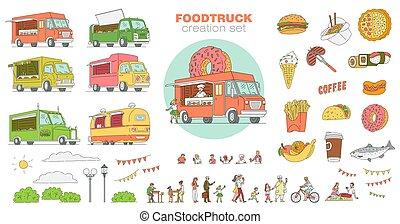 isolated., ベクトル, スケッチ, 祝祭, 漫画, 項目, 大きい, 食物, セット, 通り, イラスト