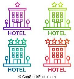isolated., ホテル, pictogram., 単純である, ベクトル, 線, アイコン, ホステル, 色, 勾配