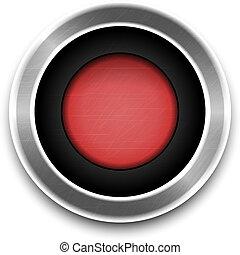 isolated., ボタン, ベクトル, 赤