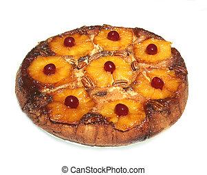 isolated., 下方に, パイナップル, cake., 上側