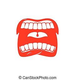isolated., 叫びなさい, 口, 歯, scream., 舌, 開いた