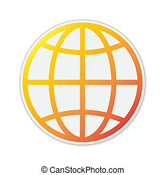 isolated., 地球, 地球, アイコン, ベクトル