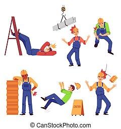 isolated., 套間, 工作, 傷害, 集合, 建設, 插圖, 矢量, 工人