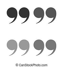 isolated., 引用, set., 引用, ベクトル, 黒, 印, シンボル, アイコン