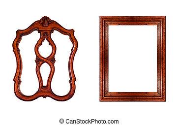 isolated., 框架, 對象, 被隔离, 背景。, 木頭, 白色