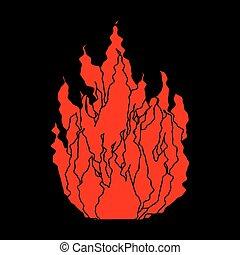 isolated., 火, シンボル, イラスト, バックグラウンド。, ベクトル, 黒, 炎