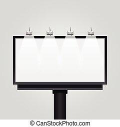 isolated., 空, 現代, 広告板, ベクトル, 旗, 印, デザイン, 看板, 広告