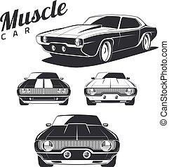 isolated., 筋肉, 自動車