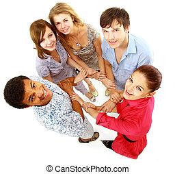 isolated., 若い, 人々。, 朗らかである, グループ