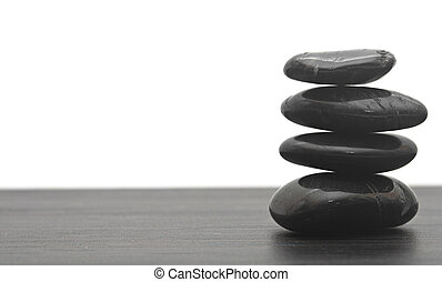 isolated., 黒, 積み重ねられた, 石, マッサージ