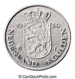 Isolated 1 Gulden - Tails Frontal