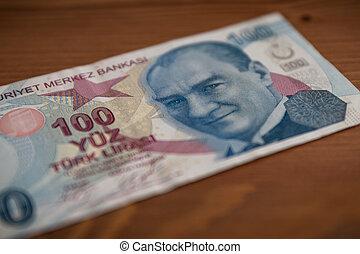Isolated 100 Turkish Lira Banknote