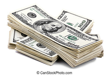 Isolated 100 US$ Bills Stack