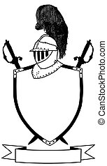 Isolated 16th Century War Shield Swords Banner and Plumaged Helmet Vector