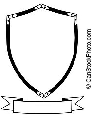 Isolated 16th Century Ceremonial or War Shield with Banner Vector