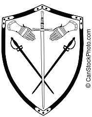 Isolated 16th Century War Shield with Crossed Swords and Gloves