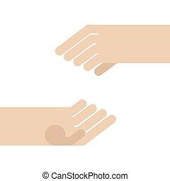isolated., 2, イラスト, ベクトル, 手を持つ, 空