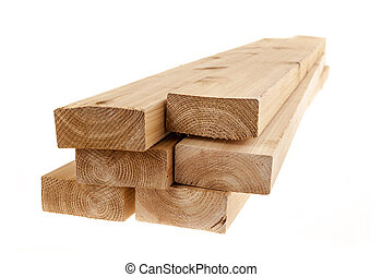 Isolated 2x4 wood boards - Edge of six cedar two by four...