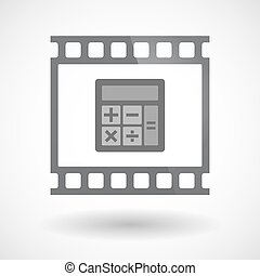 Isolated 35mm film frame slide photogram with  a calculator