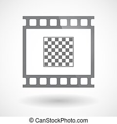 Isolated 35mm film frame slide photogram with  a chess board