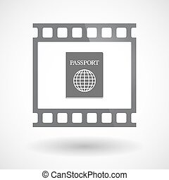 Isolated 35mm film frame slide photogram with  a passport