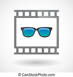 Isolated 35mm film frame slide photogram with  a sunglasses icon