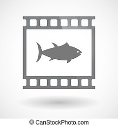 Isolated 35mm film frame slide photogram with  a tuna fish