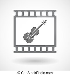 Isolated 35mm film frame slide photogram with  a violin