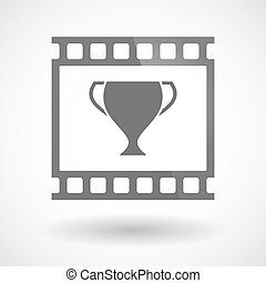 Isolated 35mm film frame slide photogram with  an award cup