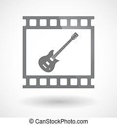 Isolated 35mm film frame slide photogram with  an electric guitar