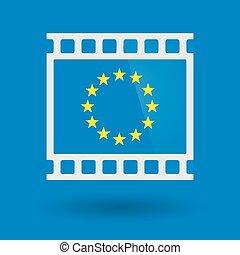 Isolated 35mm film frame slide photogram with  the EU flag stars