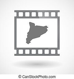 Isolated 35mm film frame slide photogram with  the map of Catalonia