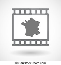Isolated 35mm film frame slide photogram with  the map of France