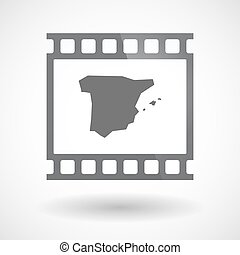 Isolated 35mm film frame slide photogram with  the map of  Spain