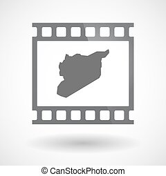 Isolated 35mm film frame slide photogram with  the map of Syria