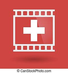 Isolated 35mm film frame slide photogram with   the Swiss flag